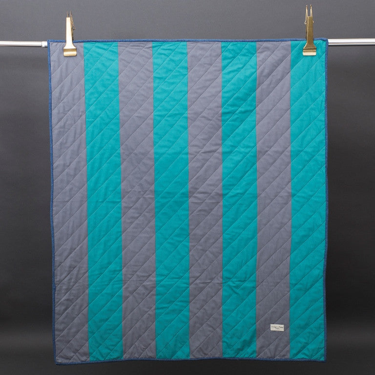 Amish Bars handmade Quilt- Grey and Turquoise - Vintage and Floral handmade quilts