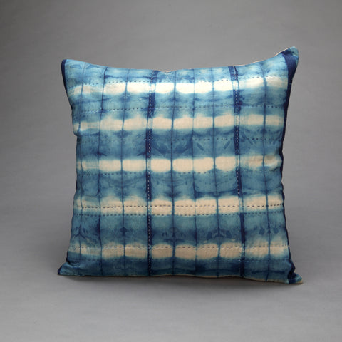 Hand Dyed Indigo Silk Cushion -Reflection Hand Stitched - Vintage and Floral handmade quilts