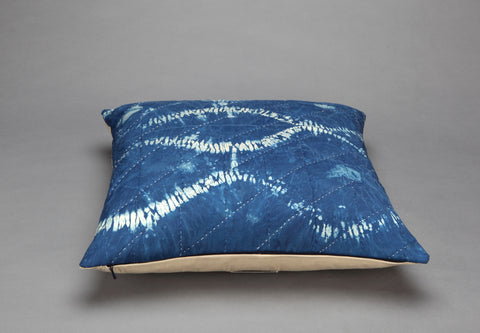 SPECIAL OFFER: Indigo-dyed Shibori Silk Cushion- Mountain Lake - Vintage and Floral handmade quilts