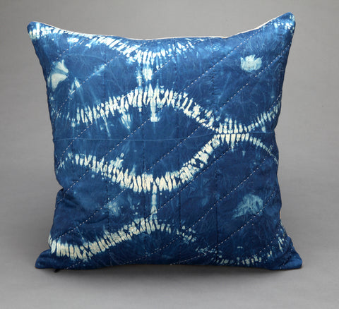 Indigo-dyed Shibori Silk Cushion- Mountain Lake - Vintage and Floral handmade quilts