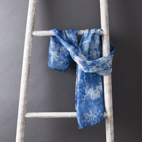 Mayfair Shibori Indigo Silk Scarf- Hand Dyed