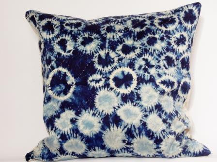 Rain-Shibori Indigo Silk Cushion Hand dyed and Stitched - Vintage and Floral handmade quilts