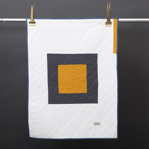 Little Centre Square Quilt- Mustard - Vintage and Floral handmade quilts