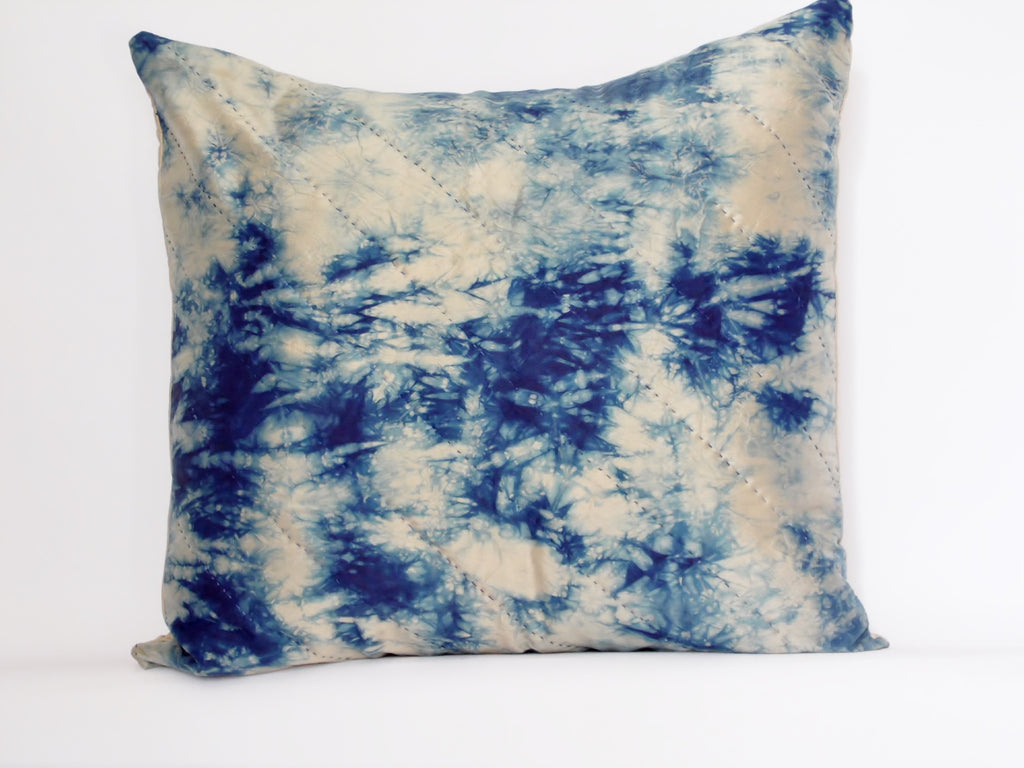 Storm-Indigo Silk Cushion Hand Dyed and Stitched - Vintage and Floral handmade quilts