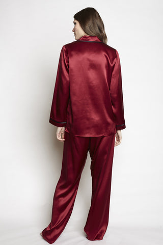 Christine - Silk Coco PJ Set in Ruby with Kohl Trim