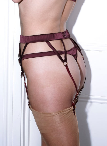 Fleur of England - Burgundy Suspender Belt