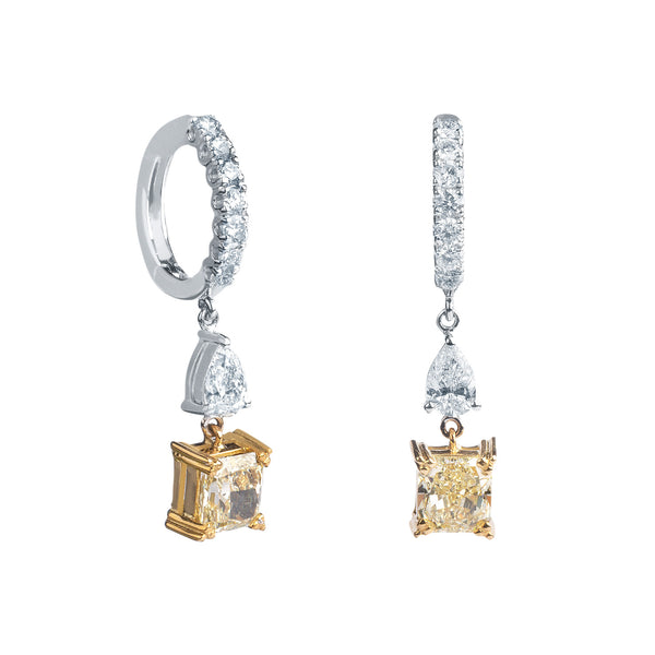 Pendientes de Oro con Diamantes Fancy y Diamantes Blancos
