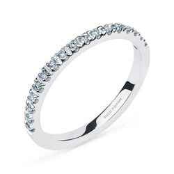 Media Alianza de Oro Blanco 18 kt con Diamantes 0,13 ct