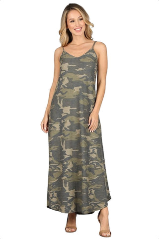 Women's Long Camouflage Lounge Dress Nightgown Maxi