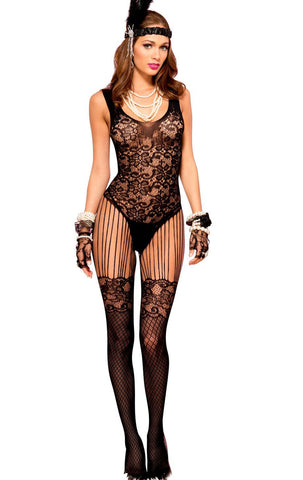 Black Floral Lace Crotchless Bodystocking Catsuit Music Legs