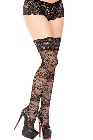 Black Lace Back Seamed Thigh High Stockings Coquette
