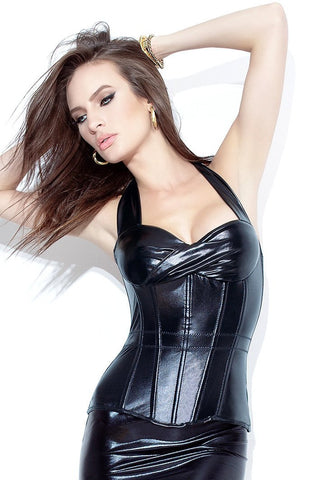Black Leather Look Halter Style Corset Bustier Coquette