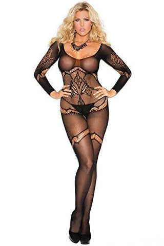 Black Long Sleeve Floral Crochet Bodystocking Elegant Moments