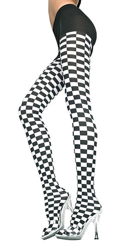 Black and White Checkered Racing Flag Pantyhose Tights Music Legs