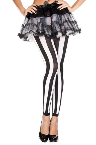 Black and White Vertical Stripe Footless Tights Music Legs