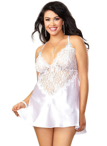 Bridal White Plus Size Satin and Lace Short Babydoll Nightgown Dreamgirl