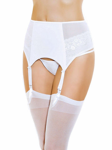 Bridal White Wide Garterbelt and Stocking Set Coquette