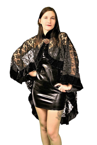 Burleska Black Lace Catherine Wrap Shawl Cape Burleska
