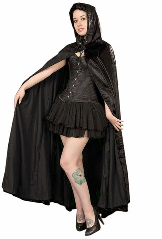 Burleska Women's Black Velvet Hooded Full Cloak Cape Burleska