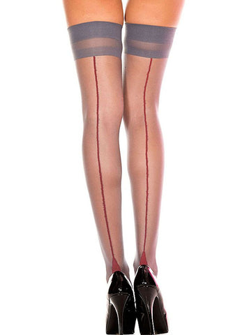 Cuban Heel Back Seamed Stockings Thigh Highs Nyteez