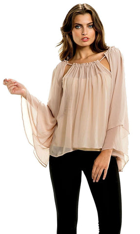 Elan Chiffon Tunic Top with Adjustable Cut Out Neckline Elan