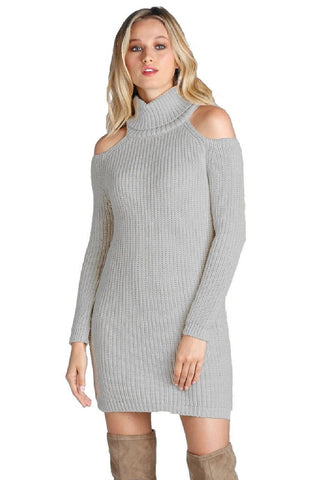 Elan Cold Shoulder Turtle Neck Sweater Short Dress Elan