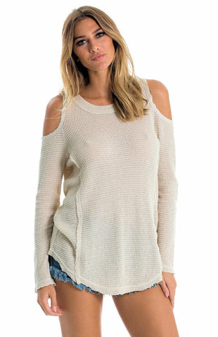 Elan Cotton Waffle Knit Cold Shoulder Tunic Sweater Elan
