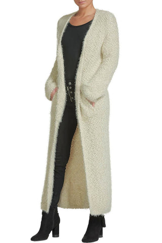 Elan Fuzzy Popcorn Knit Duster Long Cardigan Sweater Coat Elan