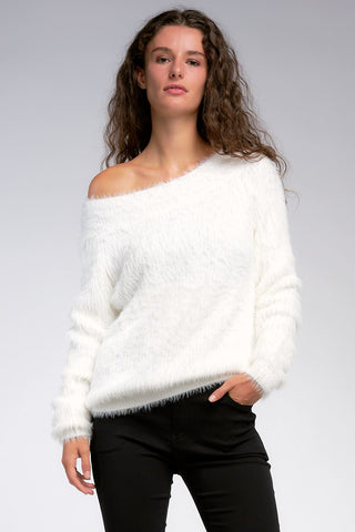 Elan Off Shoulder Fuzzy Long Sleeved Sweater Elan