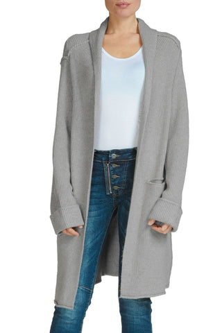 Elan Shawl Cardigan Heavy Sweater Coat, Heather Grey Elan