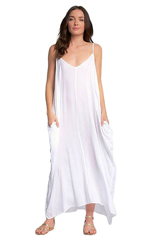 Elan Spaghetti Strap Balloon Bottom Maxi Dress Cover Up V-Back Elan