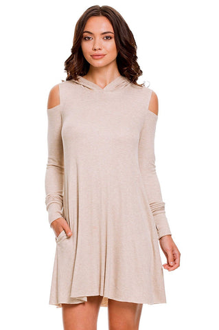 Elan Women's Rayon Knit Cold Shoulder Hooded Mini Swing Dress Elan