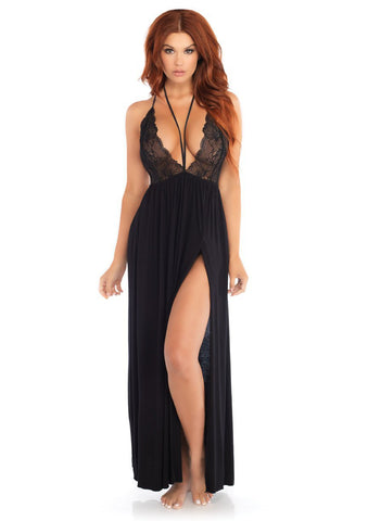 Elegant Black Knit and Lace Nightgown with High Leg Slit Leg Avenue