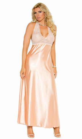 Elegant Peach Lace and Satin Long Halter Neck Nightgown Nyteez