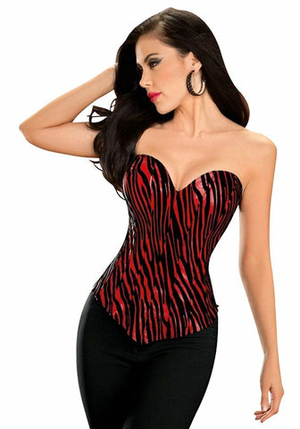 Escante Womens Red Pleather Zebra Stripe Corset Nyteez