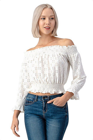 Eyelet Gypsy Off Shoulder Crop Top Heart & Hips