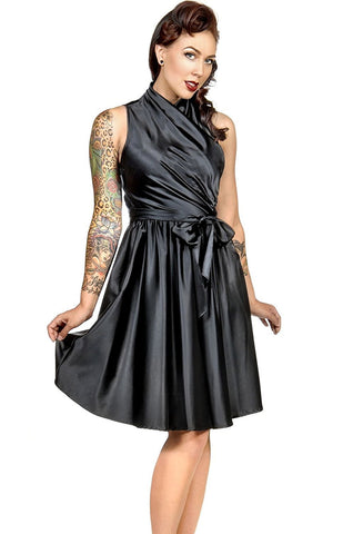 Folter Black Wrap Style Retro Rockabilly Swing Dress Folter