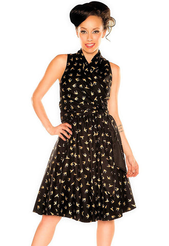 Folter Dress Golden Sparrow Retro Wrap Swing Dress Folter