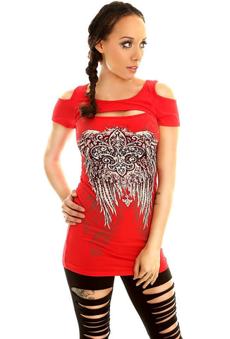 Folter Gothic Cold Shoulder Cut Out Tee Shirt Folter