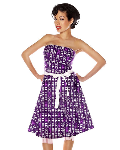 Folter Women's 1950s Retro Pinup Strapless Rockabilly Party Dress Folter