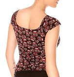 Folter Women's 50s Pinup Punk Mini Sugar Skulls Top Folter