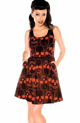 Folter Women's Gothic Rockabilly Red Skull Dress Folter