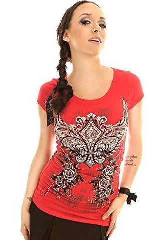 Folter Women's Red Slashed Back Gothic Tee Folter