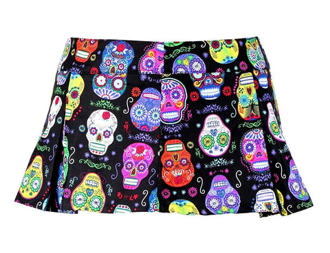 Folter Women's Sugar Skull Pleated Micro Mini Skirt Folter