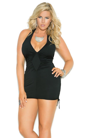 Halter Style V-Neck Mini Dress with Adjustable Scrunch Sides Elegant Moments