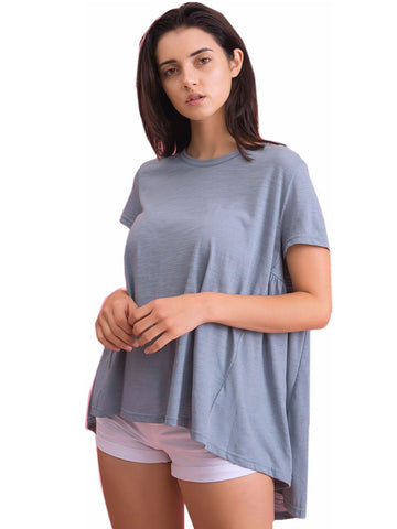 High Low Short Sleeved Flared Knit Top Symphony