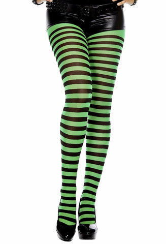Horizontal Striped Nylon Tights Pantyhose Green / Black Music Legs
