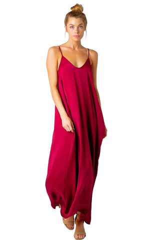 Washed Satin Balloon Bottom Spagetti Strap Cover Up Maxi Dress