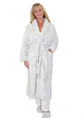 La Cera Long Cozy Fleece Bathrobe in Taupe Heather with Slippers