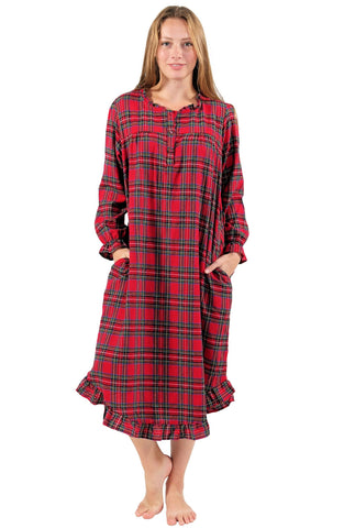La Cera Cotton Flannel Long Nightgown La Cera